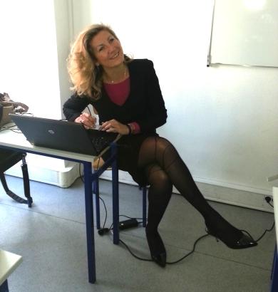 Nadine TOUZEAU avant de donner un cours : photo prise par élève profiler, net-profiler