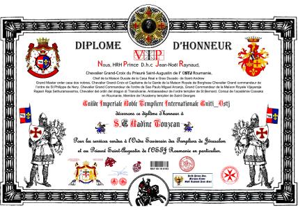 Décerné par le Prince D.H.C. Jean-Noël Raynaud, Guide Impérial des Nobles et Templiers Internationaux